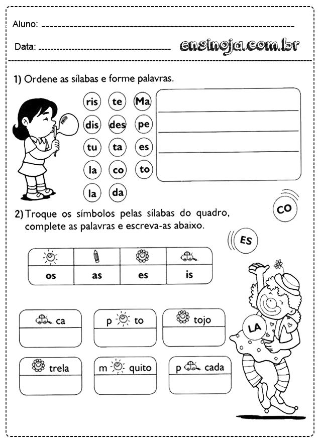 Atividades Com Silabas Para Imprimir Educacao Infantil Gratuitas