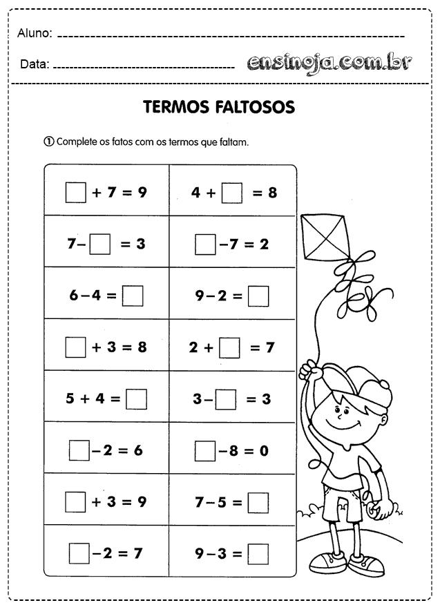 Atividades De Matematica Adicao E Subtracao Para Imprimir Ensinoja